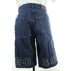 Vtg 90s BOSS Spellout Embroidered Blue Jean Shorts
